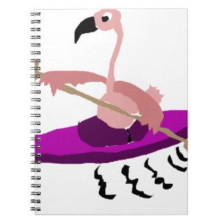 Flamenco rosado divertido Kayaking Libros De Apuntes Con Espiral
