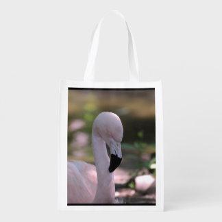 Flamenco rosado dulce bolsas reutilizables