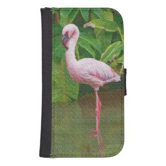 Flamenco rosado en el lago funda tipo billetera para galaxy s4