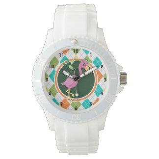 Flamenco rosado en el modelo colorido de Argyle Relojes De Pulsera