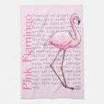 Flamenco rosado en el texto toallas