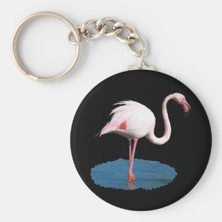 Flamenco rosado en la piscina de agua azul llavero personalizado