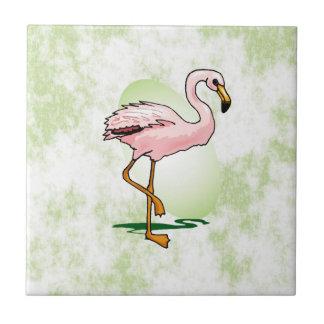 Flamenco rosado en pálido - fondo verde azulejo cuadrado pequeño