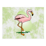 Flamenco rosado en pálido - fondo verde tarjetas postales