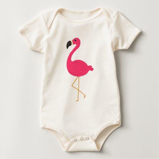 Flamenco rosado mamelucos de bebé