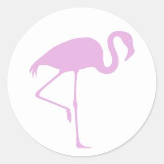 Flamenco rosado etiquetas redondas