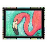 Flamenco rosado - postal artsy (2)