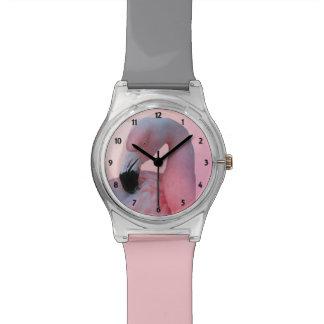 Flamenco rosado reloj de mano