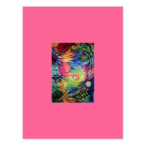 Flamenco rosado tarjetas postales