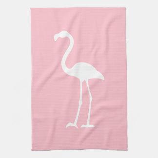 Flamenco rosado y blanco toallas de cocina
