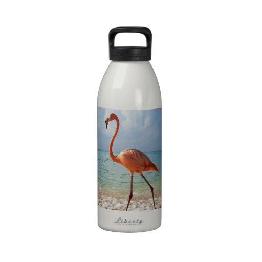 Flamenco rosado y foto hermosa de la playa de Sand Botella De Beber