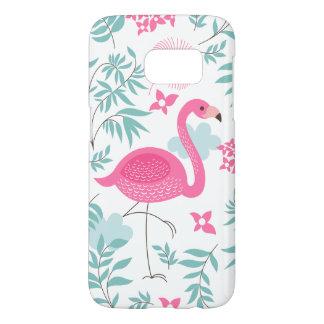 Flamenco rosado y modelo de flores tropical GS7 Fundas Samsung Galaxy S7