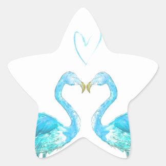 Flamencos azules del watercolour con el corazón pegatina en forma de estrella