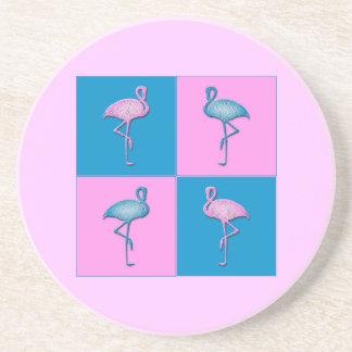 Flamencos azules y rosados posavasos diseño