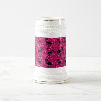 Flamencos de neón del brillo de las rosas fuertes jarra de cerveza