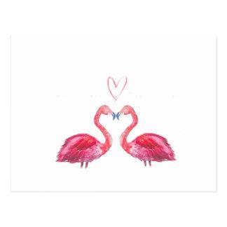 Flamencos del watercolour del rosa del corazón del tarjetas postales