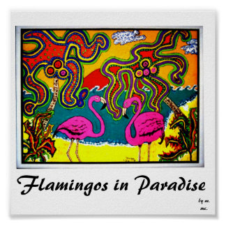 Flamencos en paraíso póster