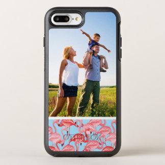 Flamencos rosados brillantes de la foto en azul funda OtterBox symmetry para iPhone 7 plus