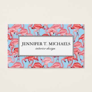Flamencos rosados brillantes en monograma del azul tarjetas de visita