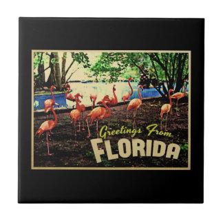 Flamencos rosados de la Florida Azulejo Cuadrado Pequeño
