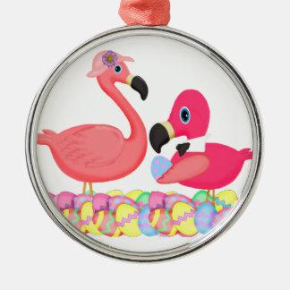 Flamencos rosados de Pascua Adorno Redondo Plateado