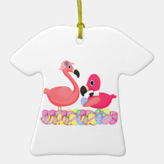 Flamencos rosados de Pascua Adorno De Cerámica En Forma De Camiseta