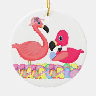 Flamencos rosados de Pascua Adorno Redondo De Cerámica