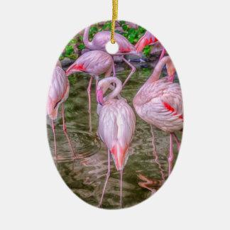Flamencos rosados ornamentos de navidad