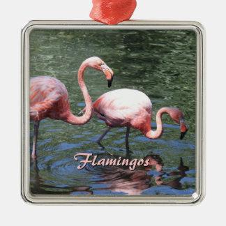 Flamencos rosados adorno cuadrado plateado