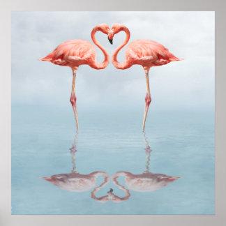 Flamencos rosados en poster del amor