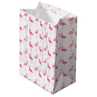 Flamencos rosados lindos bolsa de regalo mediana
