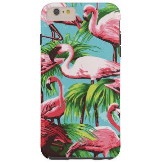 Flamencos rosados retros frescos funda de iPhone 6 plus tough