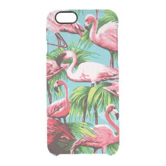 Flamencos rosados retros frescos funda clear para iPhone 6/6S