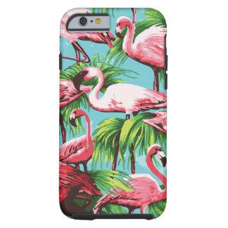 Flamencos rosados retros frescos funda de iPhone 6 tough