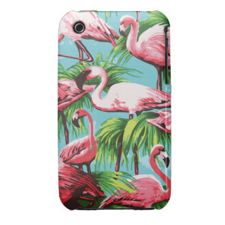 Flamencos rosados retros frescos iPhone 3 carcasas