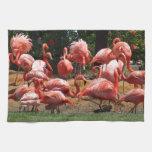 Flamencos rosados toalla de mano