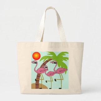 Flamencos y regalos rosados de la palmera bolsa tela grande