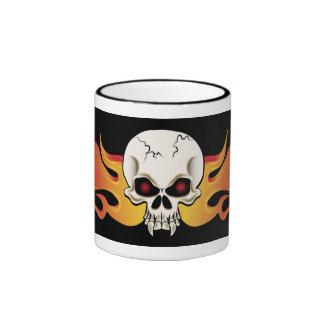 Flames and Fangs Skull Ringer Coffee Mug