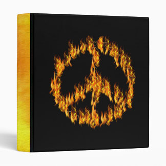 Flames and Hearts Peace Sign Binder
