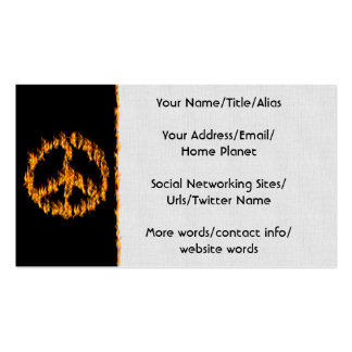Flames and Hearts Peace Sign Business Card