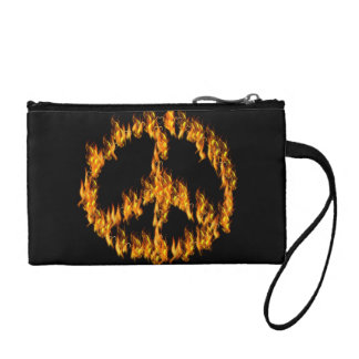 Flames and Hearts Peace Sign Coin Purse