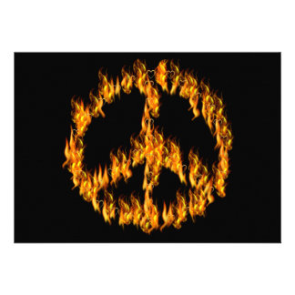 Flames and Hearts Peace Sign Custom Invites