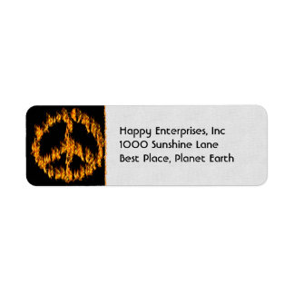 Flames and Hearts Peace Sign Return Address Label