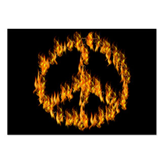 Flames and Hearts Peace Sign Large Business Card