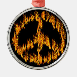 Flames and Hearts Peace Sign Round Metal Christmas Ornament