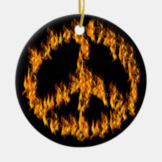 Flames and Hearts Peace Sign Double-Sided Ceramic Round Christmas Ornament