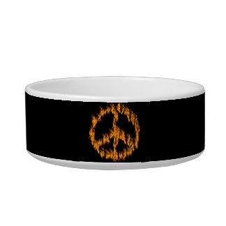 Flames and Hearts Peace Sign Pet Food Bowls