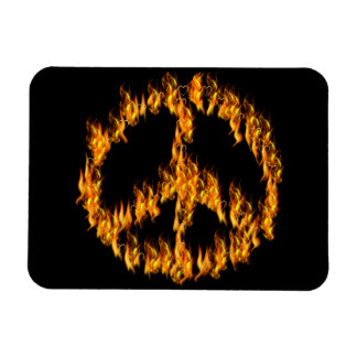 Flames and Hearts Peace Sign Rectangular Photo Magnet