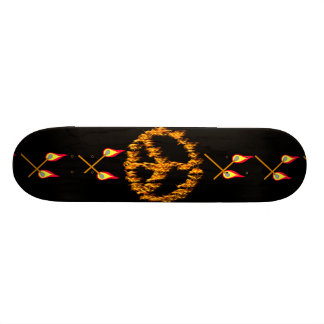 Flames and Hearts Peace Sign Skateboard Deck