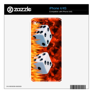 flames and lucky seven dice decal for iPhone 4